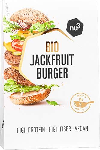 nu3 Bio Jackfruit Burger - 2 x 90g hamburguesas veganas hecha a base de yaca - Veggie burger frita en 5 minutos – 15g de proteína vegetal– Carne 100{cc822e2f5a8c741bc0d03bf3fe5df41e371d499b13dcf093d6d808e6a0ced957} vegana baja en grasa y con fibra dietética