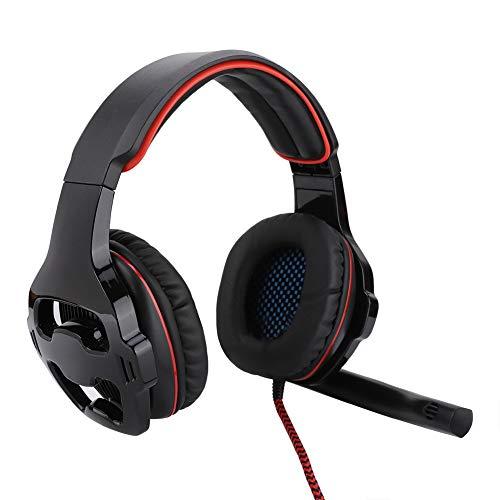 Op het hoofd gemonteerde gaming-hoofdtelefoon, Surround Sound USB Competitieve E-sports bekabelde headset, met microfoon flexibel, gedempte hoofdband, elimineert ruis, spelcomfort(Zwart rood)