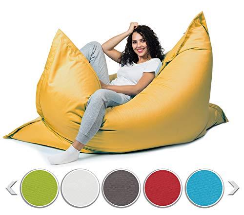 sunnypillow XL Sitzsack, Riesensitzsack Outdoor & Indoor 100 x 150 cm mit 140L Styropor Füllung Sessel für Kinder & Erwachsene Sitzkissen Sofa Beanbag viele Farben und Größen zur Auswahl Gelb