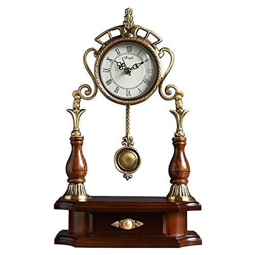 NBVCX Decoración de Muebles Reloj con cajón Péndulo Cobre Reloj de Escritorio Retro Silencio Relojes de Escritorio con Pilas Decoración del hogar Relojes de Mesa de Regalo (Color: Latón)