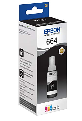 Epson Serie 664 EcoTank, Flaconi di Inchiostro Dye a 4 Colori, 70 ml, Nero, con Amazon Dash Replenishment Ready