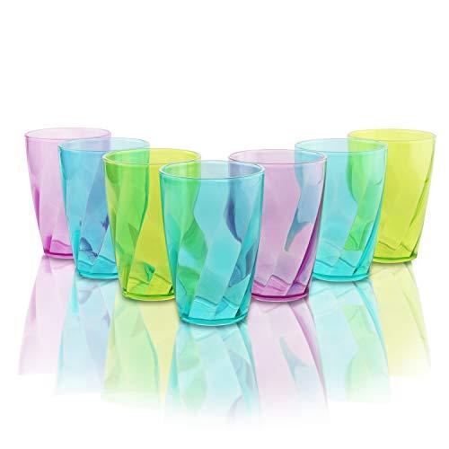 Trinkbecher (9 Stück) - 450 ml Mehrweg Kunststoff Becher - Bunt Plastikbecher für Partys, Hochzeiten, Camping Urlaub und Picknick Ausflug - Spülmaschinenfest