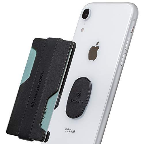 Sinjimoru Smartphone Kartenhalter mit Geldklammer, Portemonnaie für Kreditkarten Slim Wallet Kartenetui Karten Portemonnaie für iPhone & Android, Sinji Mount Z-Slot. Mattschwarz
