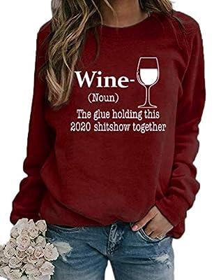 Noffish Women Long Sleeve Wine Sweatshirt The Glue Holding This 2020 Shitshow Together Sweatshirt (2-Burgundy,Medium)