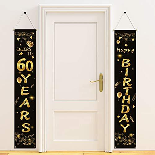 HOWAF 60. Geburtstag Party Dekorationen Schwarz und Gold, Alles Gute zum Geburtstag Banner, Prost auf 60 Jahre Banner Willkommen Veranda Zeichen für für Frauen Mann 60. Geburtstagsdeko