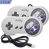 suily 2 Pack USB Controller for SNES NES Emulator, Classic USB Gamepad kabelgebundener Gaming Controller Joystick für Windows PC Mac Raspberry Pi