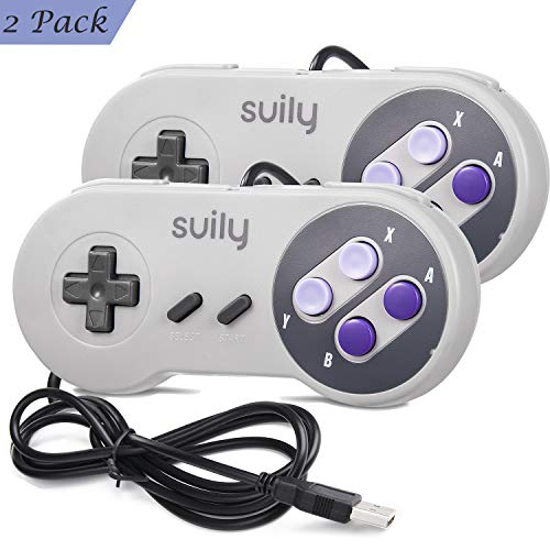 suily 2 X Classic USB Controller Gamepad Joystick for SNES NES Gaming, Compatible with Windows PC(Vista/Win7/8/8.1/10 or Later) /Mac (OS X 10.0 or Later)/All Raspberry Pi Models