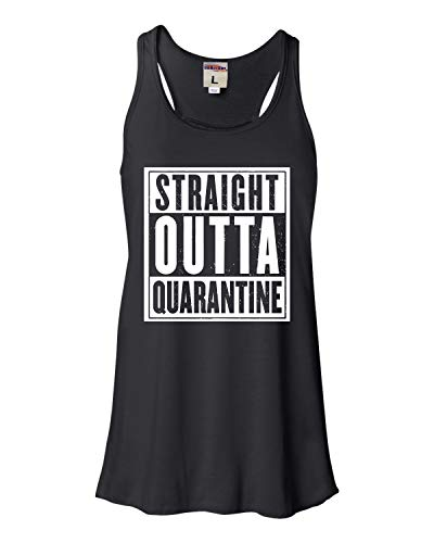 Go All Out X-Large Black Womens Straight Outta Quarantine Flowy Racerback Tank Top T-Shirt