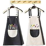 INSANYJ 2 Stück Schürze Kinder mit Tasche, Wasserdicht Kinderschürze für Jungen Mädchen, Verstellbare Kochschürze/Küchenschürze für Basteln Bemalen Backen Kochen (Schürzen schwarz, grau7-13 Jahre)