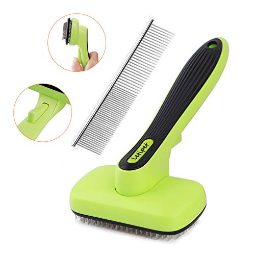 Dog Brush Dog Grooming Brush Self Cleaning Slicker Brush and A Metal Comb - Professional Pet...