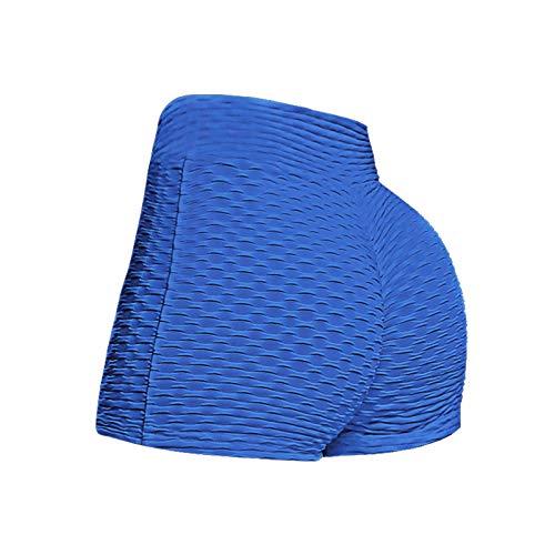 BAOhomchen Women 's Honeycomb Ruched Booty Shorts TIK Tok High Yoga Pants Sexy Tight Leggings Waisted Push Up Gym Scrunch Butt Shorts Butt Lifting Hot Pants Dancing Shorts (Blue, X-Large)
