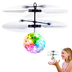 SAFE AND FUN FLYING TOYS: Advanced LED infrared sensor technology,inductive suspension and collision protection. The built-in gyroscope can control accuracy and sensitivity to make balance. You can put your hand underneath to control it in the air fo...