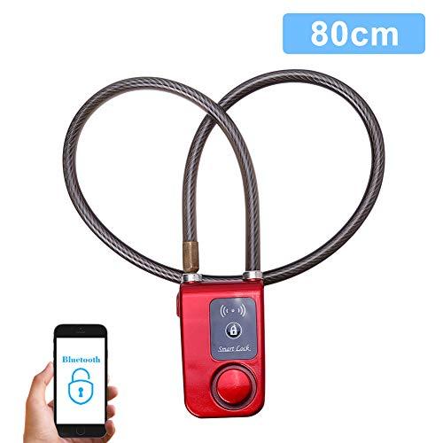 VGEBY Smart Bluetooth Fahrradschloss Radschloss für Fahrrad Anti Diebstahl 110dB Alarm wasserdichte Schloss Lock für IOS Android Smartphone (Farbe : Rot)