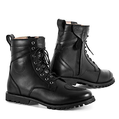 SHIMA Thomson, Zapatos Moto Hombre | Reforzados Zapatos Moto de Cuero, Soporte para el Tobillo, Suela Antideslizante, Mango de Cambio de Marchas (Negro, 43)