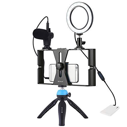 PULUZ Video Rig Smartphone Stabilizzatore Manico con Microfono + Luce LED Video di Luce per Cellulare Smartphone Filmmaking Professionale Videomaker