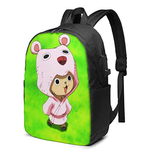ONE Piece Tony Chopper USB Backpack 17 in Unisex Laptop Backpack Travel,Durable Waterproof with USB Charging Port for School College Students Backpack