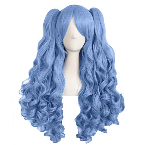 MapofBeauty 28 Inch/70cm Lolita Long Curly 2 Ponytails Clip on Cosplay Wig (Periwinkle)