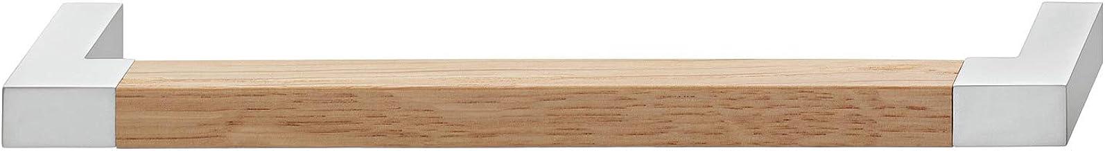 Gedotec Moderne ladegreep 128 mm meubelgreep keuken | WOODY | houten handvat eiken & metaal zilver | keukengreep voor kast...