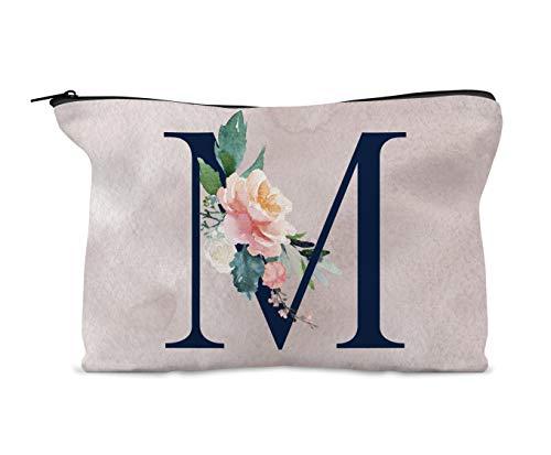 Trousse de maquillage personnalisable - Aquarelle - Motif floral - Bleu marine - Cadeau d'anniversaire pour fille, nièce, amie, demoiselle d'honneur