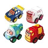 Lihgfw Kinderspielzeugauto, Spielzeugauto, Trägheit Moped, Auto, Baufahrzeug, Flugzeug, Spielzeug, Jungenauto Modell, Cartoon Auto [Happy Construction Team 4 Sets] (Color : Construction Team)