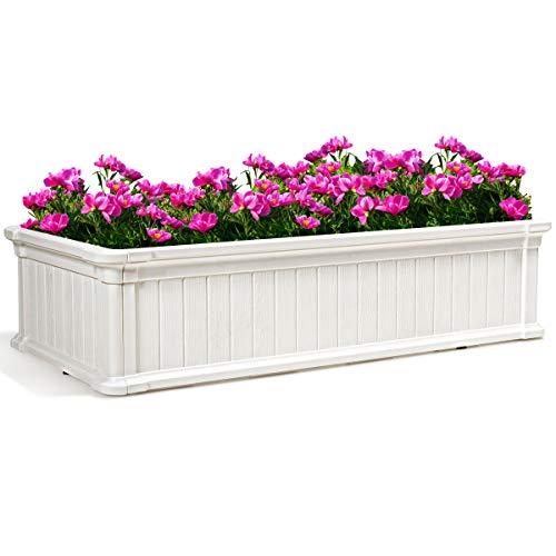 COSTWAY Blumenkasten Holz Pflanzkübel Blumenbeet Blumenkübel Pflanzenbeete Blumentrog Pflanzkasten für Balkon, Geländer, Hof, Garten 112x60x30cm (Weiß)