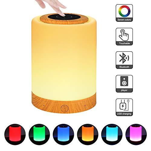 LED Nachttischlampe, Touch Dimmbar Atmosphäre Tischlampe mit Bluetooth-Lautsprecher, Berührungssensitive Nachtlicht Für Schlafzimmer