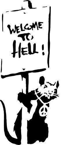 Banksy Ratte Graffiti Schablone - Willkommen To Hell Ratte/Wiederverwendbar Wohndeko & Kunst Handwerk Malerei Schablone - halb geschliffen Durchsichtig Schablone, M/ 15X37CM