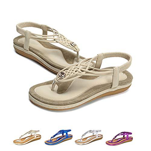gracosy Sandali Piatti Donna Scarpe Estivi da Spiaggia Tacco Bassi Open Toe Sandali Eleganti Gioiello Casual Elastico Anti Scivolo Grande Blu Nero