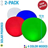 2-PK Floating Pool Lights, 12' Globes, 4 Color Settings, Solar LED Balls, Inflatable, Waterproof, Floatable, Hangable, Night Mood Lights-Sphere Decorations-Pools-Backyard-Lawn-Pathways-Parties-Events