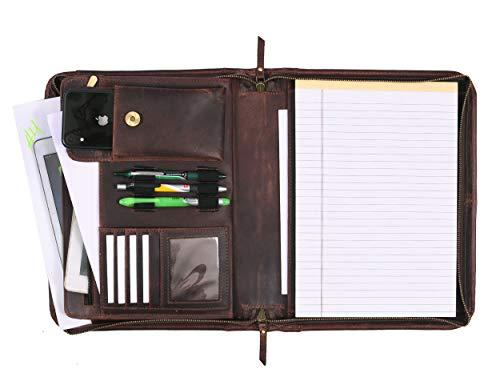 Zippered Genuine Leather Business Portfolio | Easy to Carry Organizer...
