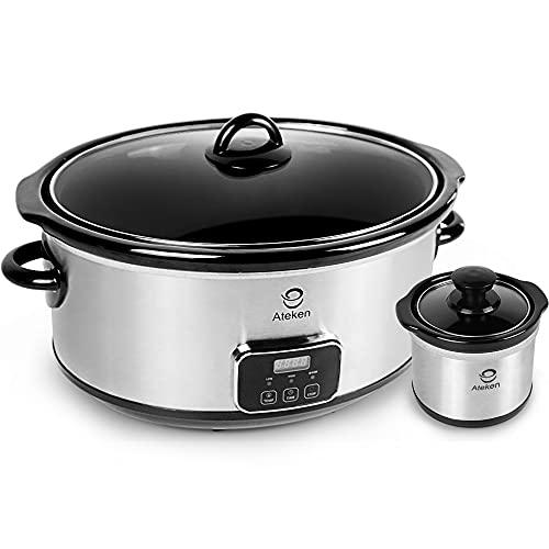 Ateken Slow Cooker 7 Quart Digital Programmable Oval Adjustable Timer Stainless Steel Set