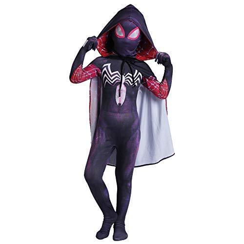 Negro Spiderman Gwen Fancy Dress Body Super Hero Zentai de la película del Animado del Mono de la Mascarada del Traje de Cosplay Trajes de Rendimiento de Halloween, S (105~115 cm) FACAI