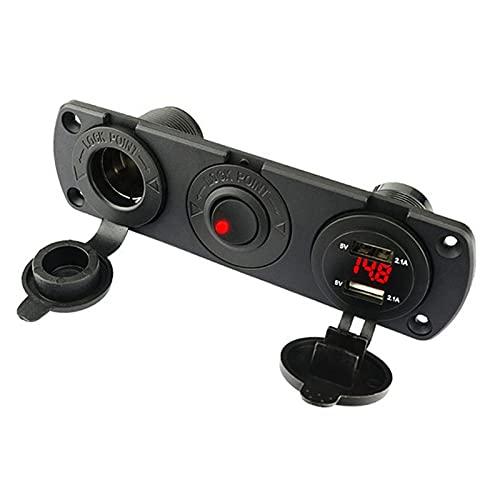 RJJX 12V USB Cargador móvil Cargador de automóvil automóvil Doble USB Adaptador Adaptador de zócalo Cargador 3 Puerto LED Voltímetro Carga rápida 12V-24V USB (Color Name : Red USB 4.2a)