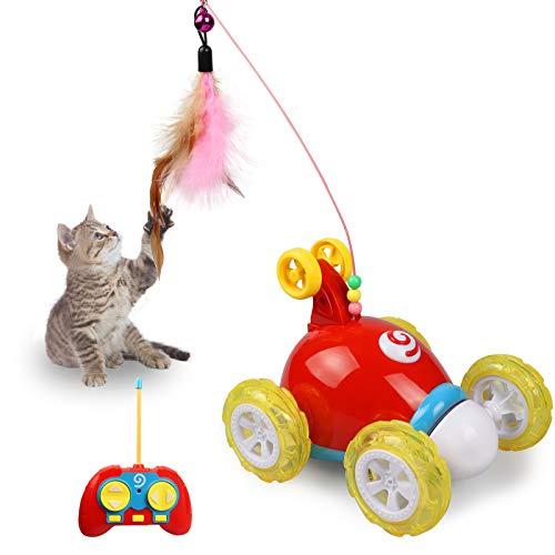 Jewaytec Fernbedienung Katze Feder Spielzeug, interaktive Roboter lustige Spielzeugauto für Katze, automatische Chaser Streich Spielzeug für Kätzchen, lustige Haustier Spielzeug (rot-New)
