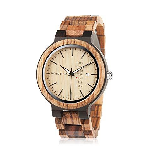 Bobo Bird Herren Holz-Edelstahl Armbanduhr *Air Force* mit Datum- & Tagesanzeige Handgefertigt Quarz Analog Uhr inkl. Geschenkbox