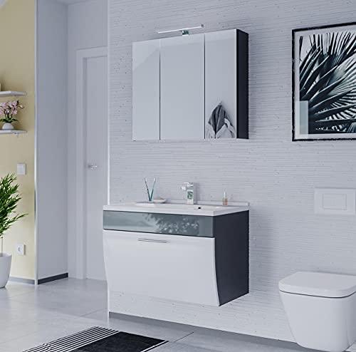 EINFACH GUTE MÖBEL Mueble de baño Salona de 2 piezas | lavabo de 70 cm + armario con espejo LED | antracita y blanco