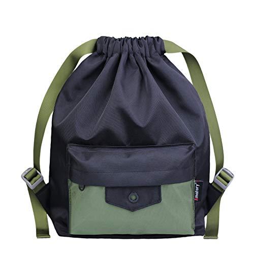 Gym Drawstring Backpack String Bag Men Women Workout Dance Sack Pack Sackpack (Kids Black Green)