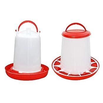 Anjing Lot de 2 abreuvoirs mangeoire 3 kg Rouge et Blanc