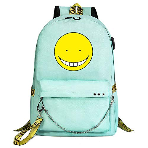 ZZGOO-LL Assassination Classroom With chain USB Anime Zaini backpack Scuola per Uomo Donna, Lavoro, Tablet Unisex Green-B