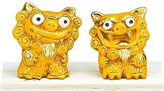 cerapockke 風水シーサー 黄=金運 k861 健康な体でいつまでもという願いをこめて作られました 沖縄 置物 置き物 インテリア 風水 幸運を招くと言われる 黄色 金運 かわいい シーサー 玄関
