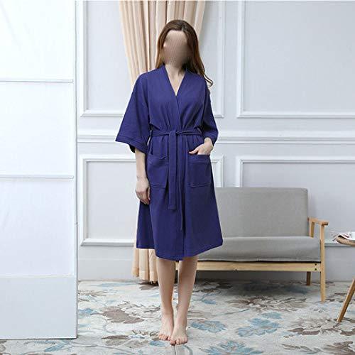 LWW Badjas, Sweat stoompak katoen zomer pyjama vrouwen nachthemd katoen Japanse kimono wafel korte mouwen badjas
