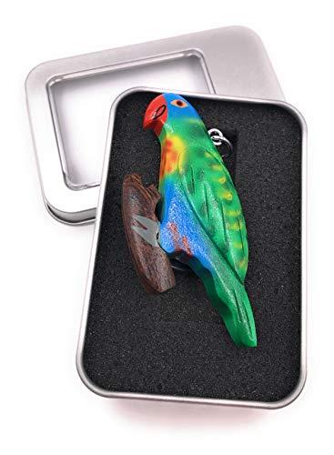 Onwomania Schlüsselanhänger Holz Papagei Wellensittich bunt Sittich Vogel Zuchtvogel Kanarienvogel Anhänger in Geschenkbox