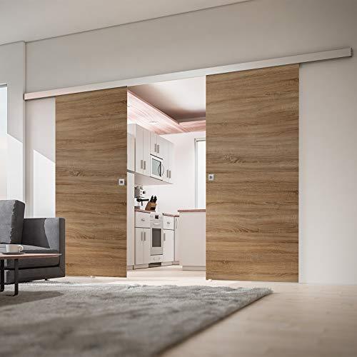 inova Doppel-Tür Holz-Schiebetür 2-Flügelig 1510 x 2035 mm Wildeiche Alu Komplettset mit Lauf-Schiene und Quadrat-Griff - 4