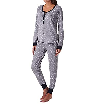 Tommy Hilfiger Women's Thermal Long Sleeve Ski Lounge Set - 2 Pieces (Globalstripehearttoss, X-Large)