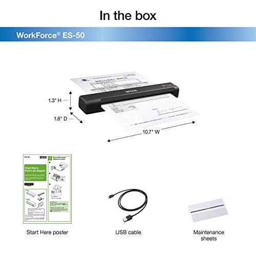 Epson Workforce ES-50 Portable Sheet-fed Document Scanner for PC and Mac (Renewed) Photo #2