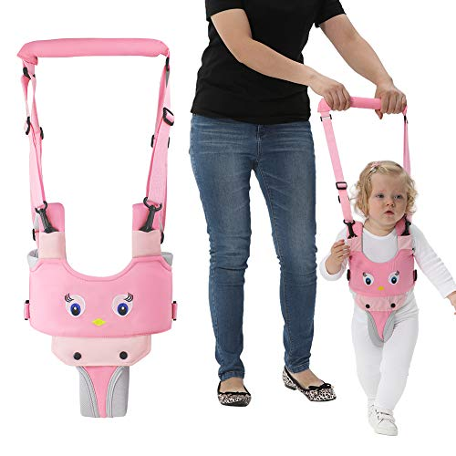 Handheld Baby Walking Harness for Kids, Adjustable Toddler Walking Assistant with Detachable Crotch, Safe Standing & Walk Learning Helper for 8+ Months Baby (Pink-Chick)