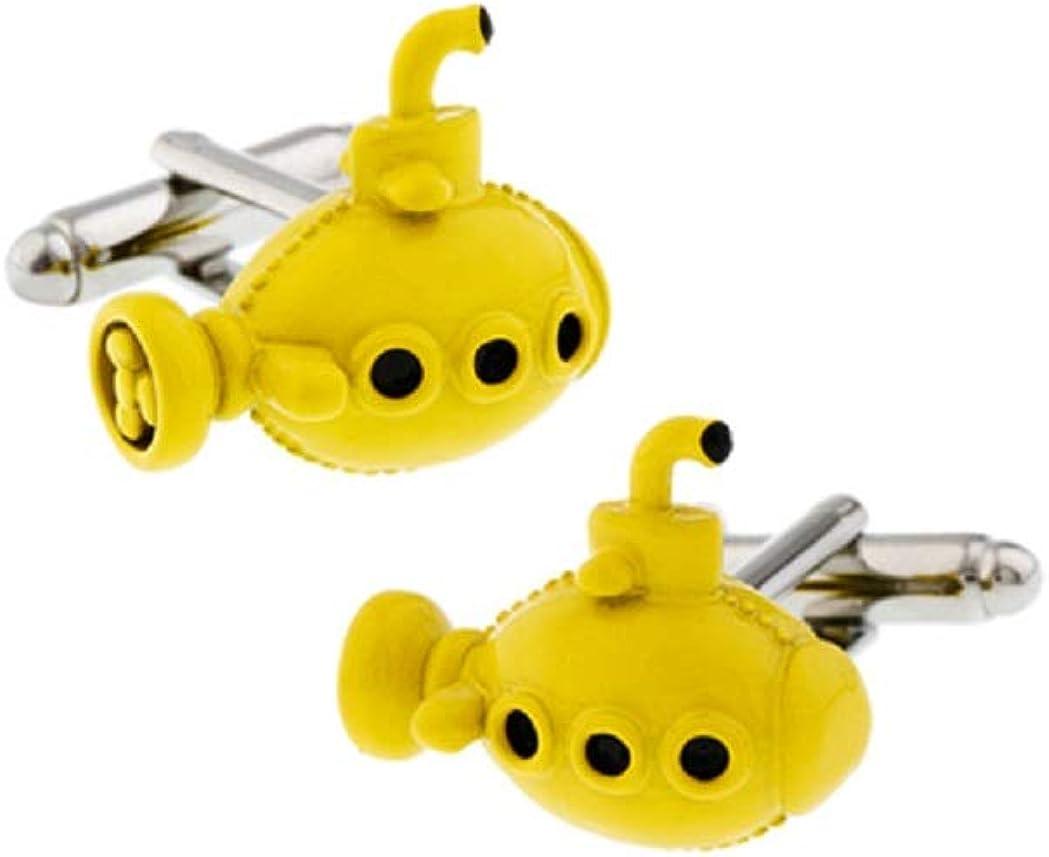 MRCUFF Submarine Yellow Sub Pair Cufflinks in a Presentation Gift Box & Polishing Cloth