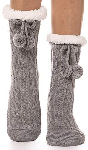 EBMORE Damen Kuschelsocken Warme Stoppersocken Rutschsichere Hüttensocken Winter Geschenk Flauschig Weihnachtssocken Hausschuhe Socken(Ball Grau)