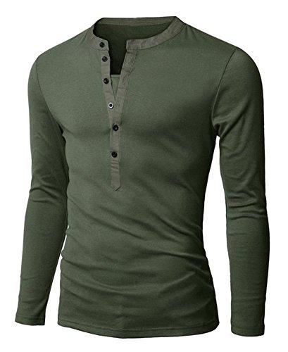Minetom T-Shirt 2 en 1 avec Col en V Profond - Manches Longues Vintage (Armée Verte FR 44)