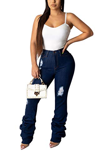 Fashion High Waisted Bellbottom Jeans for Women, Ruffle Bell Bottom Pants Denim Flare Bellbottom Jeans (Blue (style1), S)